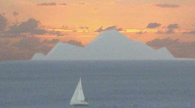 Sunset with Saba and Sailboat